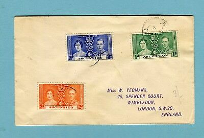 Ascension Coronation set of 1937 cover of three to London England  (1952