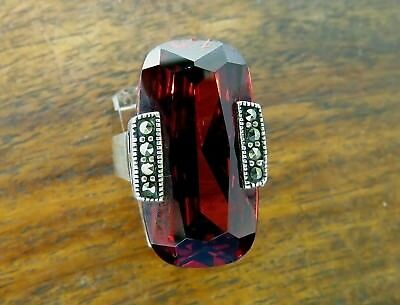 Vintage silver LARGE ANTIQUE ART DECO STYLE GENUINE GARNET & MARCASITE ring