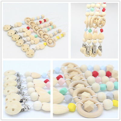 Kids Baby Pacifier Clip Chain Holder Nipple Teether Dummy Strap Wooden Beaded