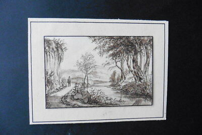 Dutch School Ca. 1829 - Animated Landscape Signed Ryns - Ink Drawing