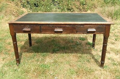 Vintage/Antique 5ft Stained Pine Leather Top Writing Table/Desk ~ with Drawers
