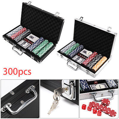 New Poker Sets - 300 Piece Texas Hold Em Chips Cards Dice Decks Casino Case Game