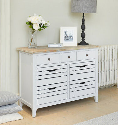 Baumhaus Signature Sideboard / Servery - Solid Wood Distressed Grey Painted Lime