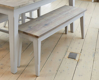 Baumhaus Signature Dining Bench (130) - Solid Wood Distressed Grey Painted Limed