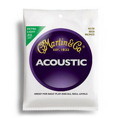 Martin M170 80/20 Bronze Extra Light Acoustic Guitar Strings 10-47 - New