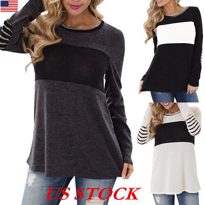 430523dfa16b9d USA Womens Crew Neck Striped Long Sleeve T-Shirt Ladies Casual Loose Tops  Blouse
