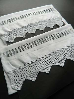 Pair antique white Irish linen pillowcases with drawnthread & crochet lace.