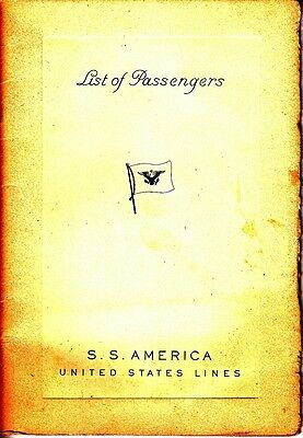 List of Passengers S.S. America United States Lines 1948 NY Southampton Havre