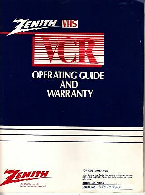 Zenith VHS VCR Operating Guide Model No. VRS51 1978