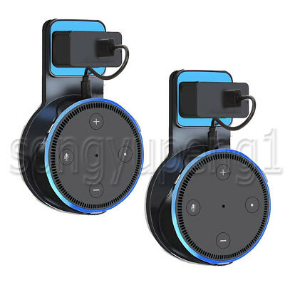 2 Pack Echo Dot Outlet Wall Mount Stand Holder for Amazon Alexa Echo Dot 2 Black