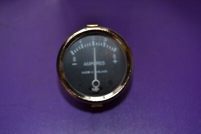 "Lucas style 1-3/4"" Black faced ammeter, reading 8-4-0-4-8 UK made, BSA Triumph"