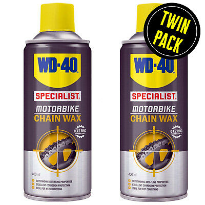 WD40 Specialist Motorbike Motorcycle Chain Lube Wax WD-40 2 x 400ml Pack