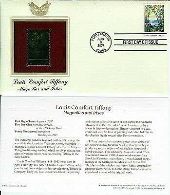 Louis Comfort Tiffany 22k GOLD FOIL FDC Magnolias and Irises USA Stamp! Portland