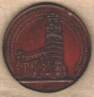 1846 Belgian Medal Issued for the Bruges Church, Engraved by Jacques Wiener