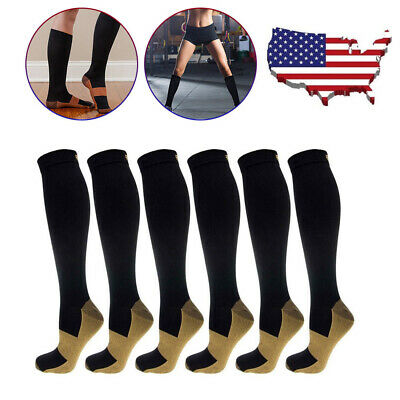 4 Pairs Compression 20-30mmHg Support Socks Relief Miracle Calf Men's Women's