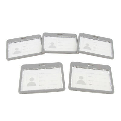 Set of 5pcs Badge Holders Open Double Sided Pick Card ID Card Pouches-Gray