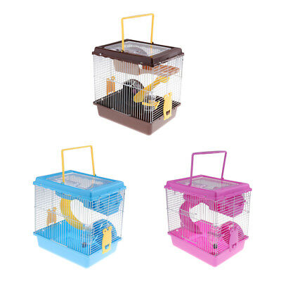 2 Layers Animal Gerbil Tubes Mouse Hamster Cage Nest with Wheel Water Bowl