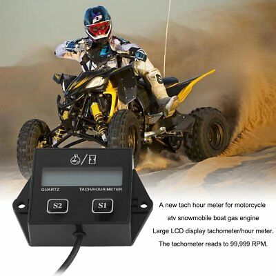 Portable 12V LCD Display Tachometer Hour Meter Motorcycle Stroke Gasoline Engine