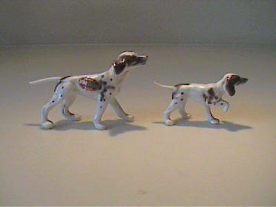 Two Vintage 1960's Miniature Bone China Setter Or Pointers Dogs - Japan