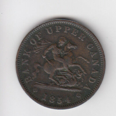 1854 Province Of Canada One Penny Token