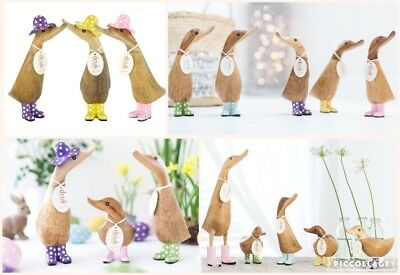 DCUK Wooden Spotted Duck Duckling Ducklet Ornament Decoration Gift Ass Colour