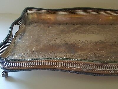 """Large Reed & Barton Silverplate Ball & Claw Footed Pierced 18""""x12"""" Platter Tray"""