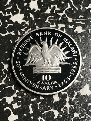 1985 Malawi 10 Kwacha Lot#X6719 Large Silver Coin! Proof!