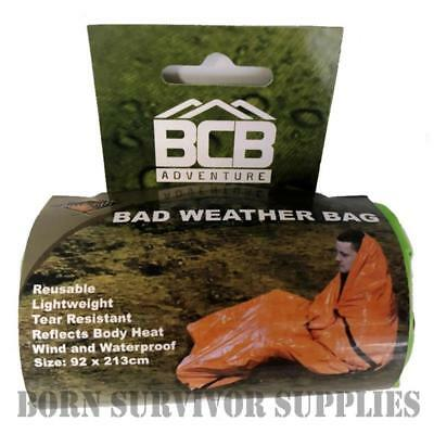 BCB BAD WEATHER BAG Orange Emergency Survival Blanket Hiking Sleeping Foil Bivi
