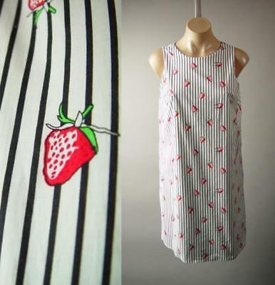 Strawberry Fruit Novelty Print White Black Pin Stripe Sun Shift 280 mv Dress S L
