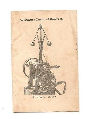 Vintage advertising booklet Whitman's Improved Governor, ca. 1872