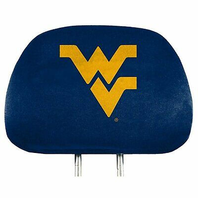 West Virginia Mountaineers PRINTED Color 2-pack Head Rest Covers Auto University