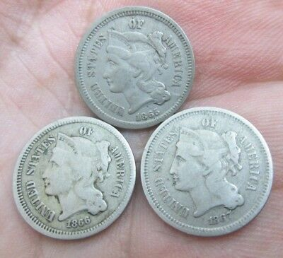 1865,66 & 67 Three Cents Nickel Coins No Reserve