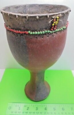 antique OLD VINTAGE AFRICAN TRIBAL PAINTED BEADED ART GOURD POT VASE CONTAINER
