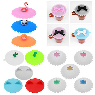 Glass Cup Cover Silicone Bowknot Cup Cover Coffee Mug Suction Seal Lid Cap Hot