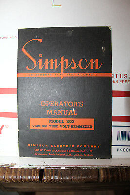 Vintage Simpson Model 303 Vacuum Tube Volt-Ohmmeter Operator Manual Radio Rare