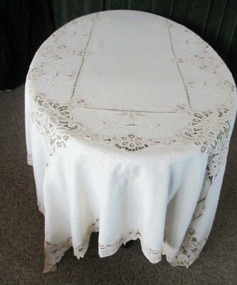 """LARGE TABLECLOTH-TAPE LACE & HAND EMBROIDERY-66""""x100""""- CREAM"""