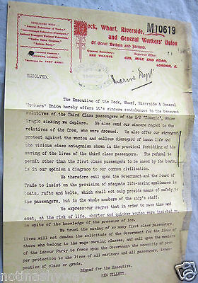 TITANIC Letter Trade Union Workers Ship Yard Emphemera Vintage Old Antique Us UK
