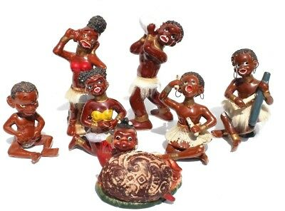 7 Vtg Black Americana African Native Tribal Tribe Dancing Ceramic Figurines