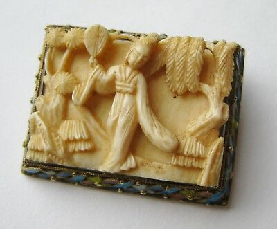 Fine Old Chinese Sterling Silver Cloisonne Enamel Carved Panel Brooch Pin