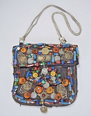 Old Berber Leather hand bag with fascinating embellishments from Morocco