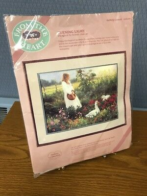 New 1989 Dimensions Evening Light Crewel Embroidery Kit From the Heart #51039