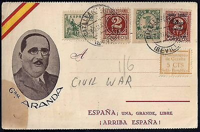 Spain 1937 Civil War Issues On Card Tied Sevills Cancels With Cachet Of General