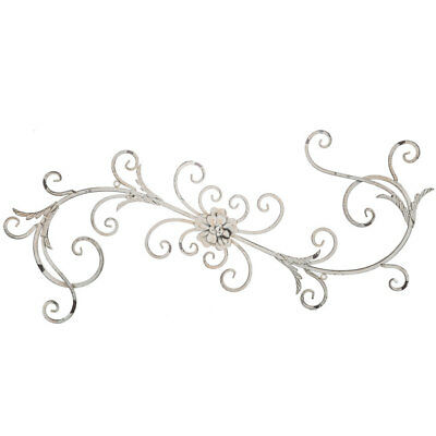 Vintage White Floral Swirl Metal Antique Style Wall Sculpture Shabby Chic Decor