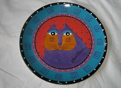 Laurel Burch Decorative Cat Plate from Ganz - Purple Cat on Turquoise