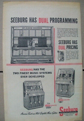 Seeburg 201 and 161 phonograph 1958 Ad- finest ever developed