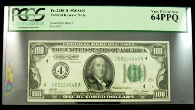 1928 $100 Federal Reserve Note - PCGS 64PPQ - Cleveland Gold Clause FR. 2150-D