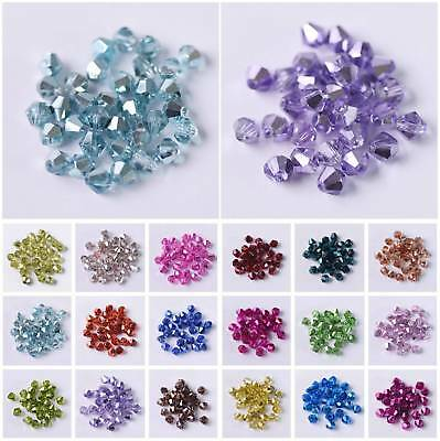 3mm 4mm 6mm Half Plated Bicone Faceted Crystal Glass Loose Spacer Beads Findings