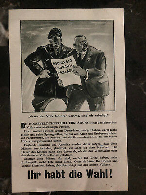 Original England WW 2 Leaflet Dropped on Germany If the People Find