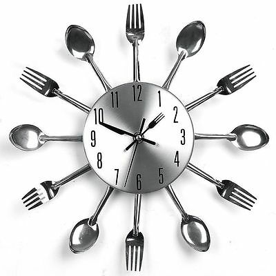 "12""Cute Sliver Cutlery Kitchen Utensil Wall Clock Spoon Fork Clock New Year Gift"
