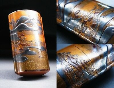 FINE Landscape Gold MAKIE INRO 18-19thC Japanese Edo Antique Netsuke Art  f326